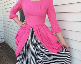 70s Costume Dress Victorian Gown Pink Black White Striped Vintage S XS