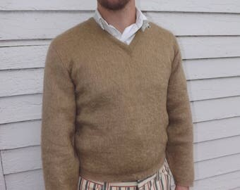 Mens Mohair Sweater Tan Wool Vintage Shaggy Pullover M