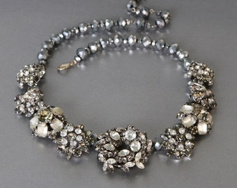 Everlasting Snowflake Pretty Statement Necklace from Vintage Rhinestone Jewelry