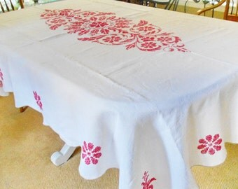 Vintage Christmas Tablecloth Red Cross Stitch on Ivory Linen Heirloom