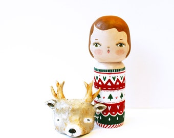 Black Friday Sale - Holiday decoration - Kokeshi doll with deer mask - Christmas sweater