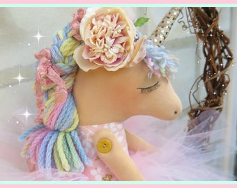 SOLD OUT    Unicorn doll (Bellini) - fabric doll - handmade doll - girls room decor - girls toy - cloth doll - unicorn - plush