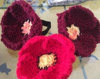 Knit flower hair ties