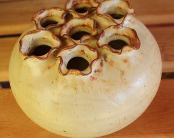 Vintage Hand Made Pottery Flower Frog, Finger Vase or Plant Rooter