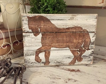 8x10 Horse wooden sign - hand painted distressed wooden sign - distressed wooden horse  slats sign
