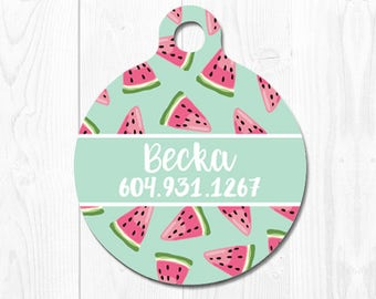 Pet id Tag Dog Tags for Dogs Dog Tag Personalized Cat Tags Pink Watermelon Pet Gift Custom Dog Tag Pet Tags Dog Tags Personalized