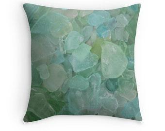 Seaglass Pillow Cover- Beach Theme, Seaglass Pillow Case, Aqua Pillow Case, Beach Glass, Coastal Home Decor, Photo Pillow Case, Beach Pillow