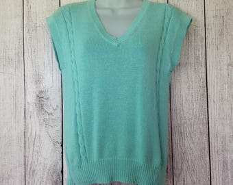 Vintage 80s Preppy Little Mint Green Tight Cable Knit Sweater Vest Shirt Pullover Ladies Small