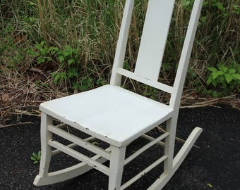 Vintage Antique White Rocking Chair Shabby Chic