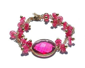NEW Hot Pink Sapphire 14K Gold Gemstone Bracelet / Fuchsia Quartz Pendant / Wire Wrapped / Extension / OOAK