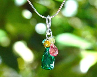 NEW Emerald Quartz Pyramid Necklace / Sterling Silver / Grapefruit Teardrop / Aquamarine / Orange / Pink / Green / Blue / Multi Color / OOAK