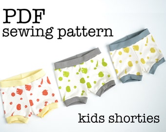 Kids Shorties Sewing Pattern Tutorial | Toddler Shorts | For Serger | Knit Fabrics | Stretch Materials | PDF Download | Printable | DIY