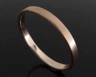 14k Rose Gold Wedding Ring, Flat Profile Rose Gold Wedding Ring, Rose Gold Wedding Band Ring, 14k Gold Ring, 2 mm, Satin Finish