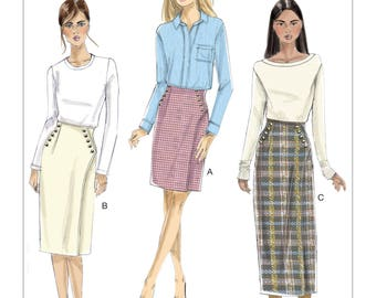 Pick Your Size - Vogue Skirt Pattern V9209 - Misses' Buttoned Wrap Skirt in Three Variations - Very Easy Vogue Pattern