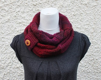 knitted scarf, infinity loop scarf, snood, multicolour scarf, burgundy scarf, neckwear, gift for her, scarf uk