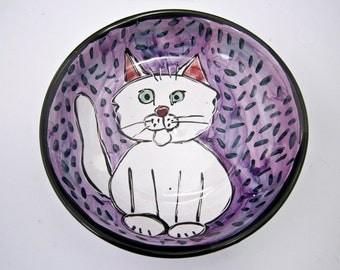 Ceramic Cat Feeding Dish - Pet Feeding Bowl - White Cat - Cat Feeding Dish - Clay Pottery Majolica - Pet Food Bowl - Purple - Shallow Bowl -
