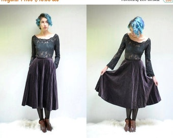 25% off sale - 70s Velvet Skirt  //  Circle Midi Skirt  //  PLUM PUDDING