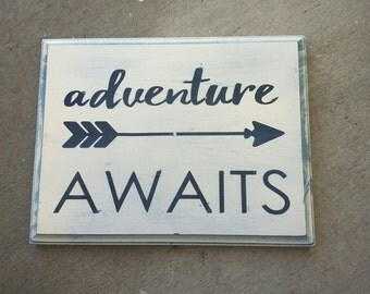Adventure Theme, Arrow Nursery Decor, Wooden Wall Words,  Rustic and Antiqued Navy Blue and Cream, Boho, Tribal, Unique Kids Room Decoration