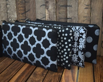 Balck and Silver Metallic Wristlet, Bridesmaids Clutch, Smart Phone Wristlets, Custom Made Wristlets, Bridesmaids Gifts, Phone Bags