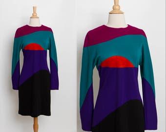 vintage 80s color block dress   Oberon sheath
