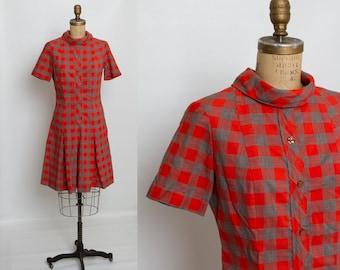 vintage 1950s pleated drop waist dress