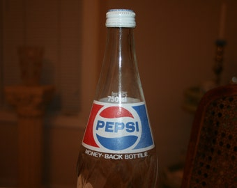 Vintage Pepsi Glass Bottle Metal Screw Top Lid 750 ml