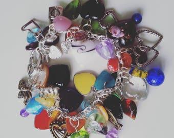 Love hearts charm Bracelet, charm bracelet, loaded, love hearts, mix colour, love hearts bracelet, By NewellsJewels on etsy
