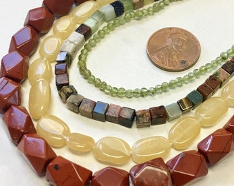 Mixed Lot of Stone Beads, Stone Bead Assortment, 4 Strands, Assorted Stone Bead Lot