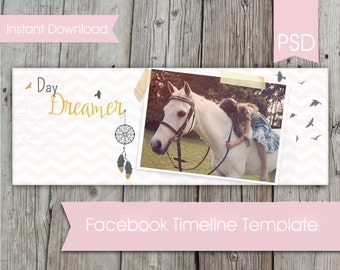 Instant Download Facebook Timeline Cover Template- Day Dreamer-  Personal and Small Business use- Layered PSD