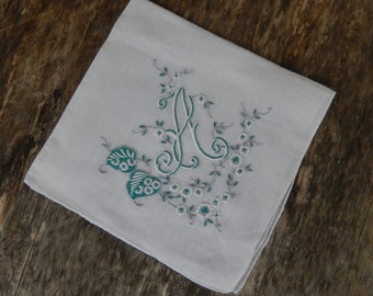 Ladies Hankie Monogram A Embroidered Vintage Initial Handkerchief