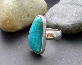 Kingman turquoise ring, green turquoise, sterling silver ring, size 6 ring, boho ring, unique turquoise, genuine turquoise, turquoise silver