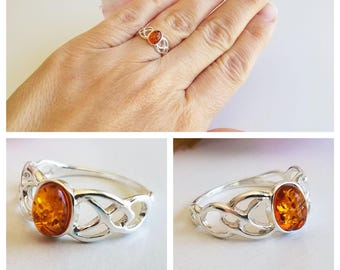 Amber Ring - Sterling Silver Ring - Baltic Amber ring - Amber Jewelry - Celtic Amber ring - Genuine Amber Ring - Real Amber ring