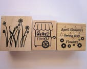 3 rubber stamps - FLOWERS, flower cart, April Showers bring May Flowers - used rubber stamps