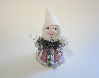 handmade miniature elf - clay face elf, bump chenille, mercury glass beads, pink glitter dress with chenille trim - hand painted