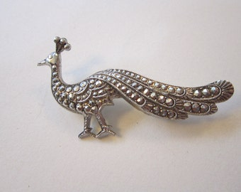 vintage faux marcasite PEACOCK brooch - made in Western Germany - bird brooch