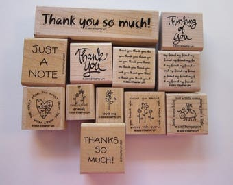 12 rubber stamps - Stampin Up sentiments, thank you, thinking of you, friends, thank you so much, thanks so much, just a note, loves me