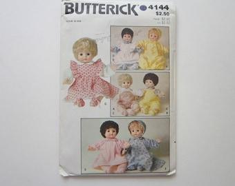 vintage pattern - DOLL CLOTHES - Butterick 4144, circa 1980s - UNCUT