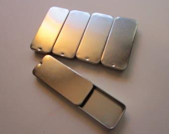 "5 slide top tins - empty tins - 1.375"" x 3"" - sliding top tins, tins with sliding lids"