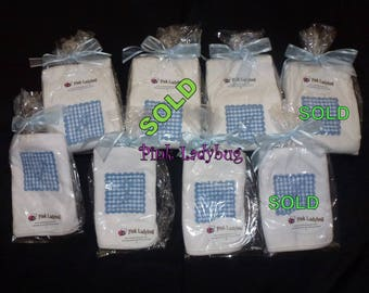 Monogrammed Bibs and Burp Cloths - Blue I, J in Burp Cloth Only and  K - Ready to Ship