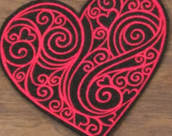 Red embroidered swirls and hearts iron on patch ready to ship