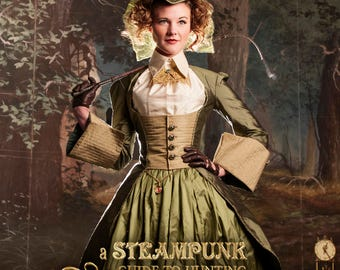 Green Silk Steampunk Jacket with tails, lace-up back