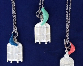 Plaster Birdcage with Bird Necklace (Choose from 3 Options)