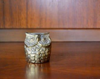 vintage cast metal owl paperweight figurine / brass hoot / brass bird / mothers day / mom