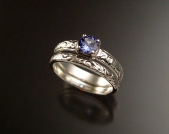 Tanzanite Wedding set 14k White Gold Victorian two ring set made to order in your size