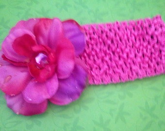 Girls floral crochet headband