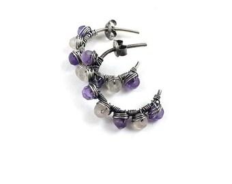 Hoop wire wrapped earring, gemstone earring, pink and purple earring, silver jewelry