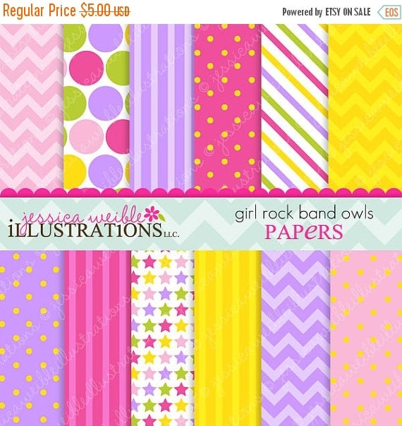 ON SALE Girl Rock Band Owls Cute Digital Papers Backgrounds for Invitations, Card Design, Scrapbooking, and Web Design