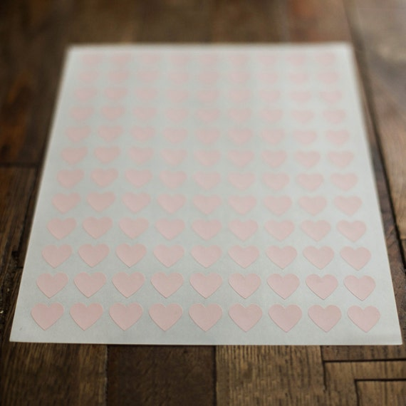 "108- Soft Pink Heart Stickers- 1 Sheet  Hearts measure 0.75"" x 0.75""  Additional color options available"