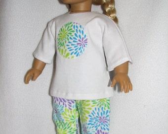 "18"" Doll  Pajamas & Sliipers - floral print"