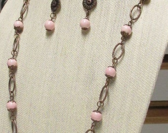 "30"" Pink Ceramic Beaded Necklace Set #20242"